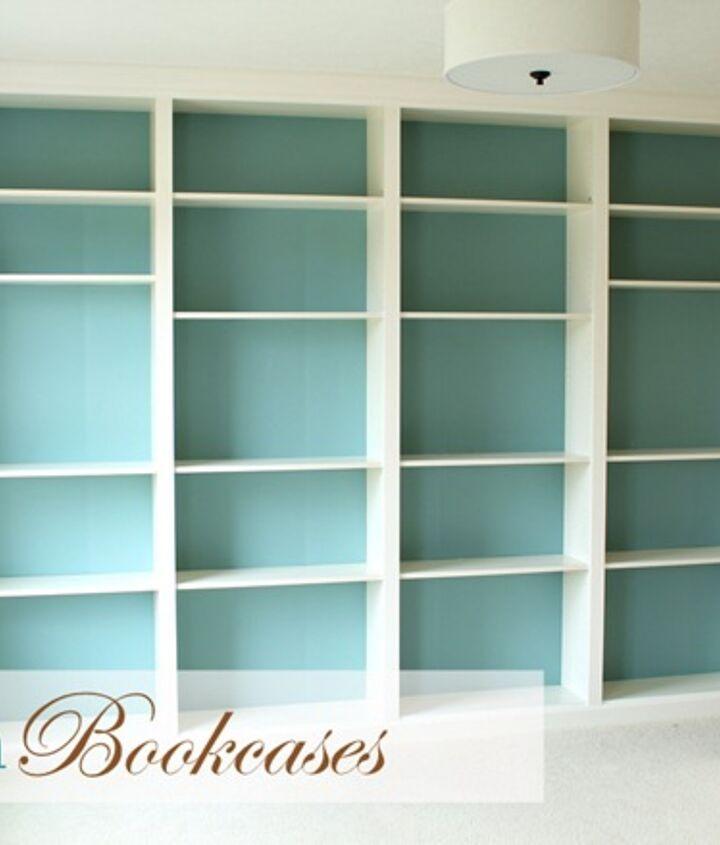 DIY built-in bookcase wall http://justagirlblog.com/billy-bookcases-diy/