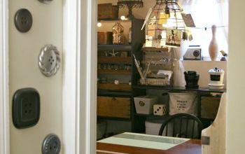 vintage inspired craft room home office, craft rooms, home decor, home office, craft room work space