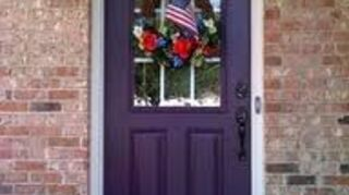 q door color, curb appeal, doors, home decor, Plum and red brick gorgeous