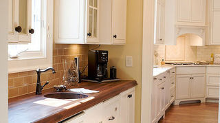 q we all know granite countertops are definitely in but what do y all think of, countertops, home decor, kitchen design, Walnut with Waterlox finish homeowner bought this knowing she will have to watch for water splashes that could sit and break down the finish Since it is a butler s pantry bar area so the traffic and water use here is not high