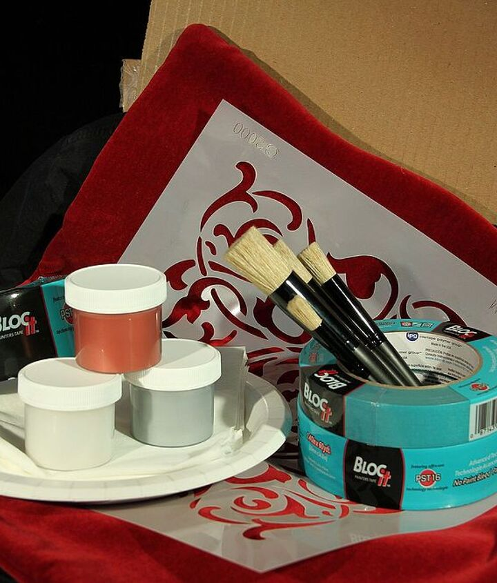 Here are the supplies needed to complete this project.  I used Royal Design Studio Stencils.