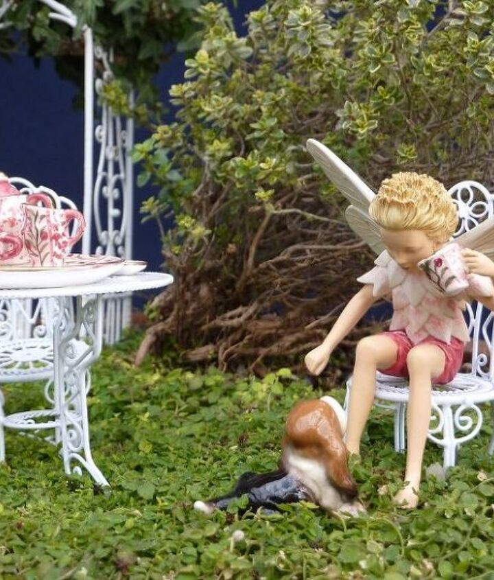 Fairy boy and dog at a tea party