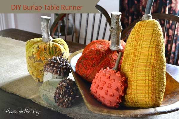 A burlap table runner is one of the best accents for your Fall tablescape!
