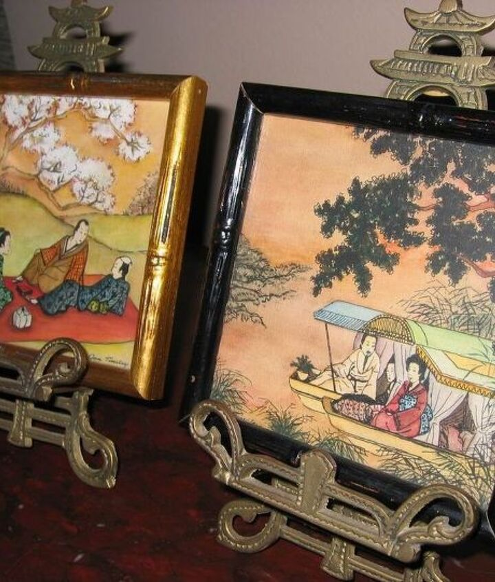 """Two (approx) 5""""x5"""" framed paintings."""