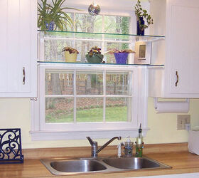 diy glass shelves in front of kitchen window hometalk rh hometalk com glass kitchen shelves uk glass shelves kitchen cupboards