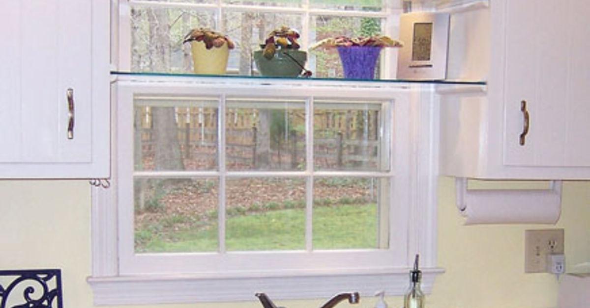 Diy Glass Shelves In Front Of Kitchen Window Hometalk
