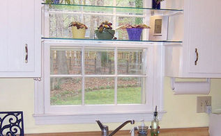 diy glass shelves in front of kitchen window, shelving ideas, See through glass window shelves allow light in and give you a spot to set your plants