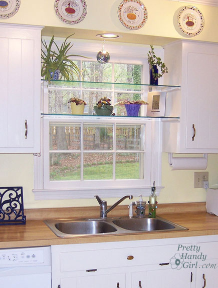 DIY Glass Shelves in Front of Kitchen Window | Hometalk