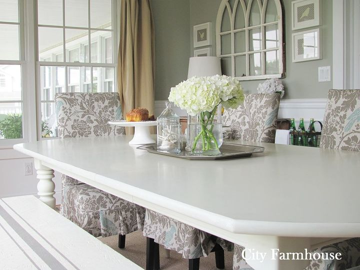 I had a vision for the built-ins to double as a buffet and saved money by adding a skirt instead of doors.