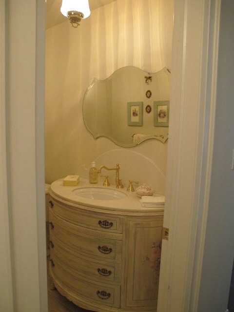 french country painted powder room remodel, bathroom ideas, home decor, home improvement