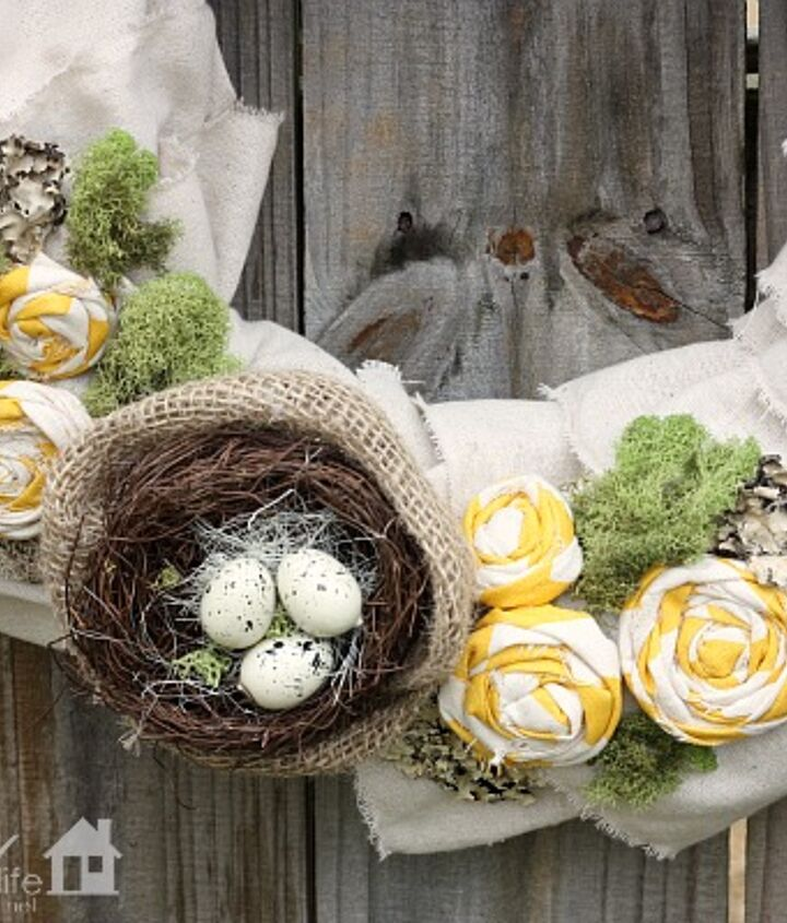 A bird nest, rolled fabric flowers and moss!