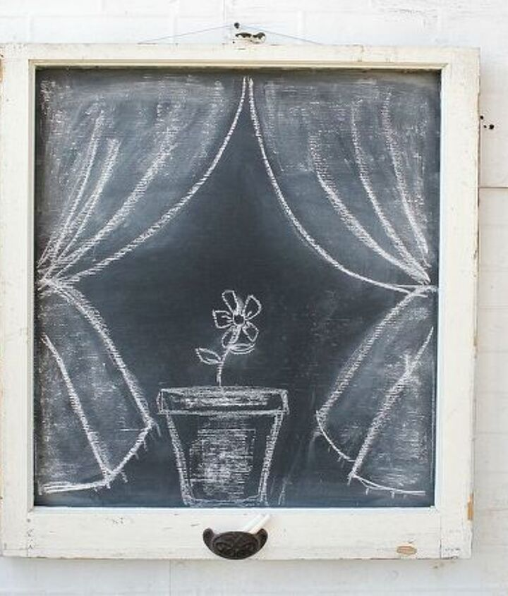 antique windows converted to chalkboards, chalkboard paint, crafts, repurposing upcycling
