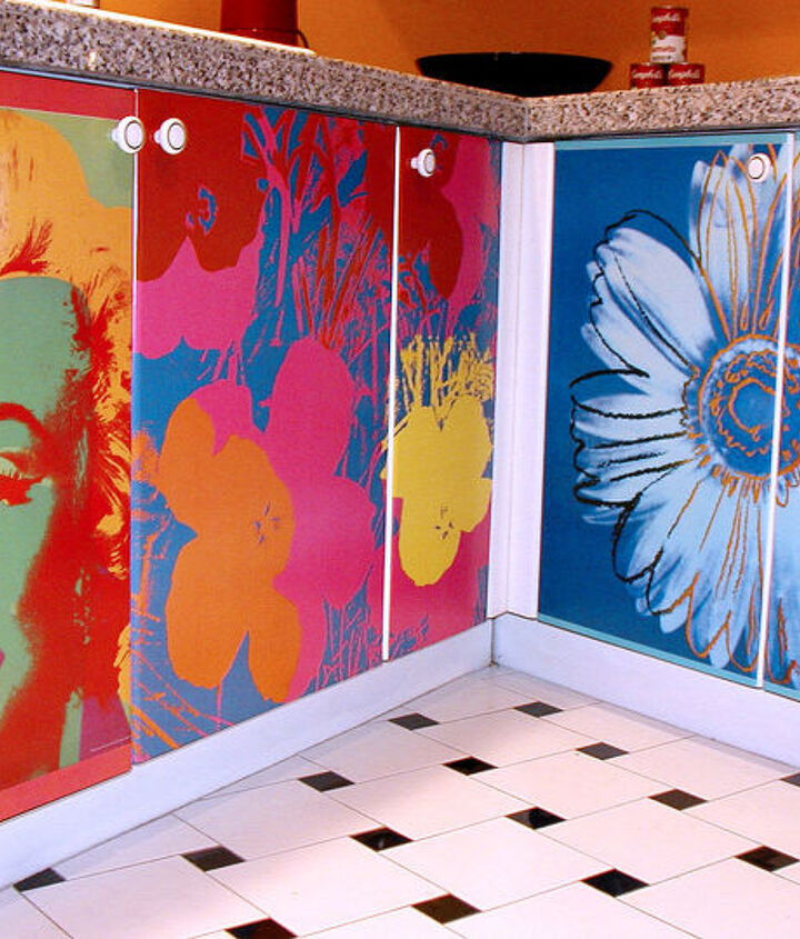 """I had never decoupaged anything prior to doing this kitchen. I googled how to decoupage cabinets and found the world master of decoupage Durwin Rice, author of """"New Decoupage,"""" who taught me how to do it."""