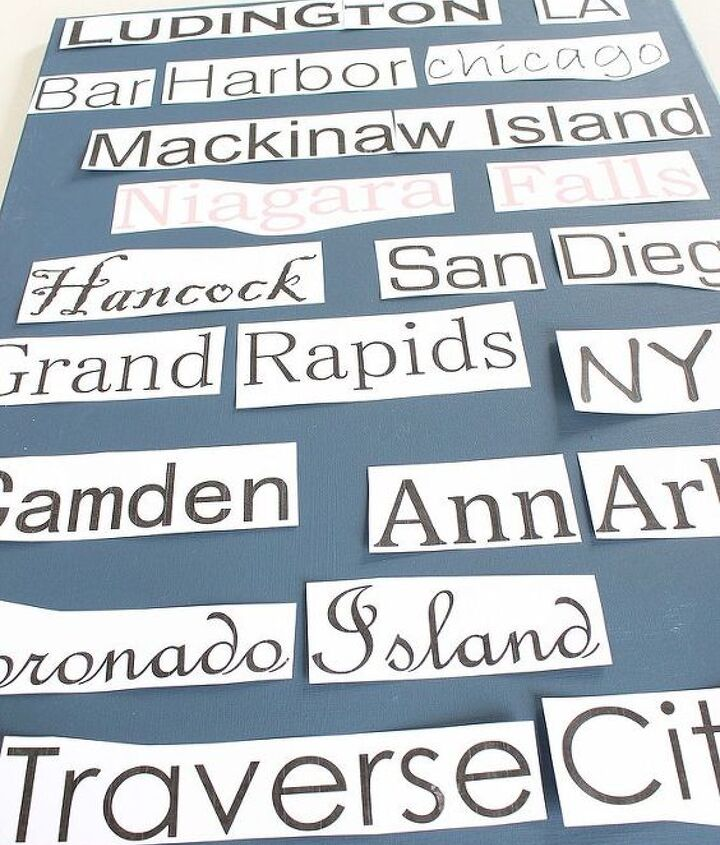 Print out your cities. I used various fonts all in size 150.