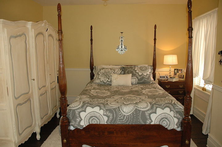 rice bed from North Carolina and bedding from Pottery Barn, mixing the old with the new