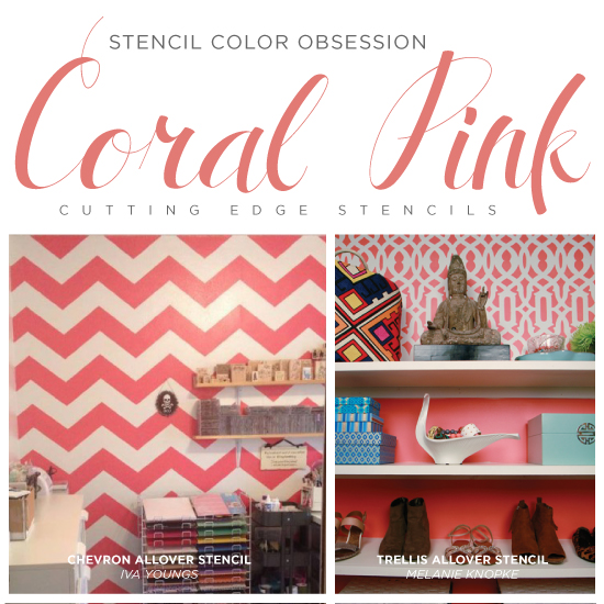 stencil color obsession coral pink, home decor, painting, wall decor