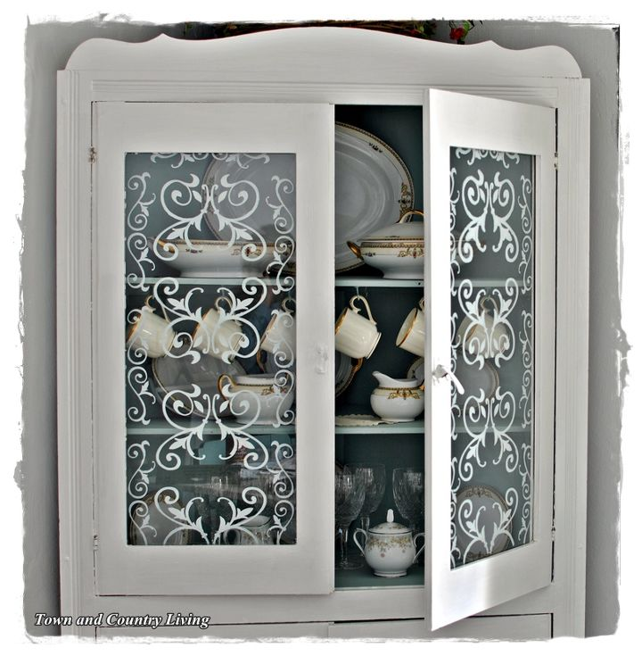 Easy Stenciled Glass Cabinet Doors Hometalk