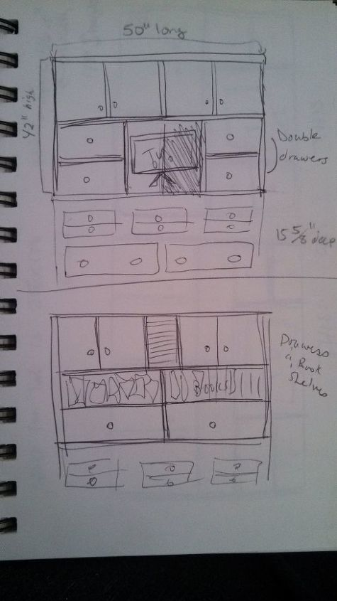 I drew a lot of plans, some good and some bad, as to how to break up the storage. I needed drawers, cupboards and shelves. So I broke the plan up into quadrants with the 2 sections up top  being cupboards, 1 bank of drawers and another of shelves that could be converted to drawers or cupboards in the future.
