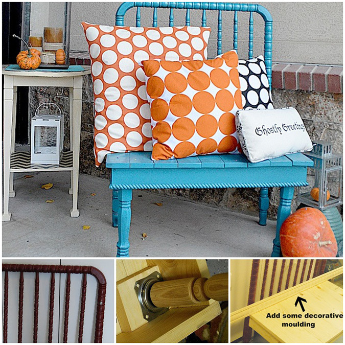 sunny days and repurposed benches, painted furniture, repurposing upcycling, shabby chic, I just love the color of this bench repurposed from an old baby s crib