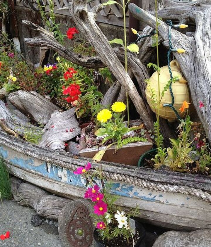 Reclaimed and repurposed old boat becomes an amazing nautical planter just outside of the Mud Room (fabulous clay mugs!) in a side street down to the wharf in Cowichan Bay.