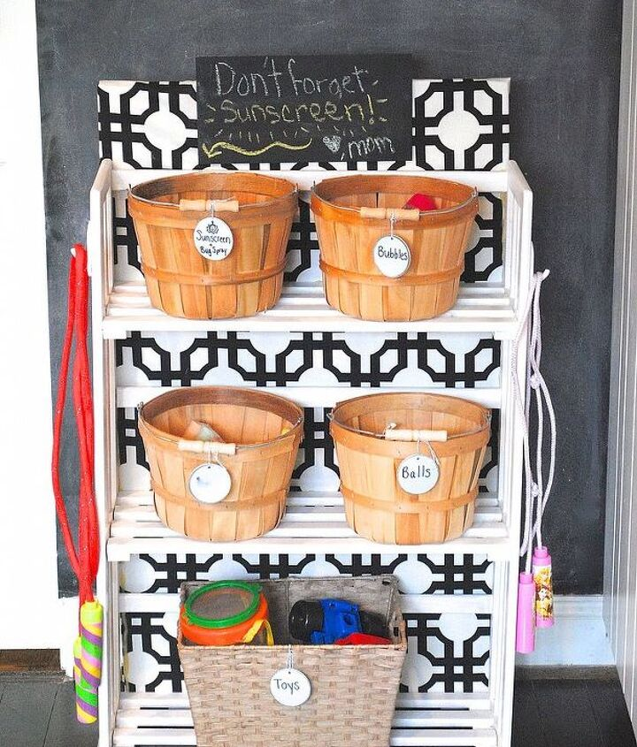 Here it is as a kids' stuff garage organizer: full of toys, sunscreen, and bubbles. :)