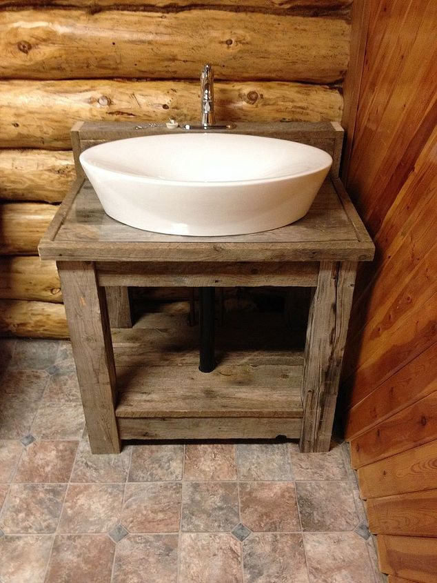 Reclaimed wood bathroom vanity hometalk for Recycled bathroom sinks