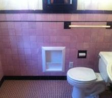 q can i paint over bathroom tile and have it look good, bathroom ideas, painting, tiling, my pink black bathroom ugh help