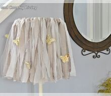 how to make a shabby lamp, crafts, home decor, shabby chic, Strips of dropcloth muslin and tulle create this shabby lampshade
