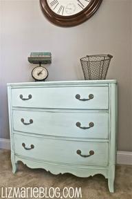 minty dresser makeover, painted furniture, Minty Dresser Makeover