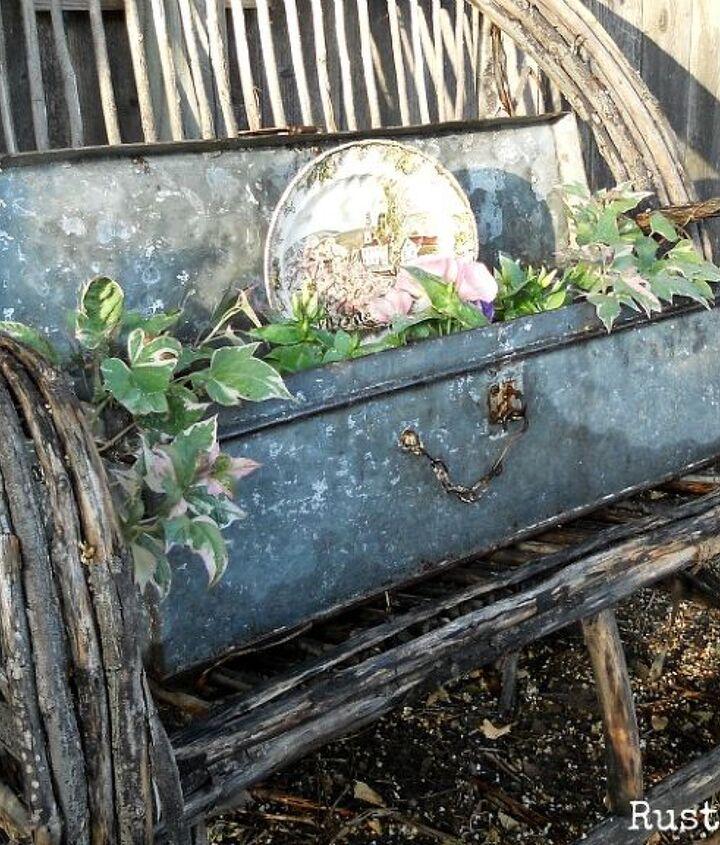 Vintage Galvanized Tool Box Planter on Willow Bench