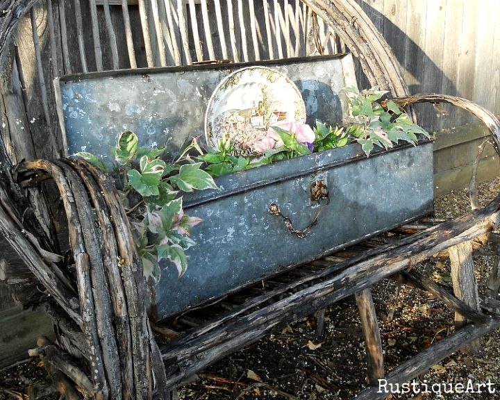 Vintage Galvanized Tool Box Planter on Willow Bench