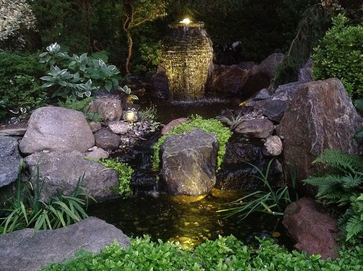 awesome additon to my pond, lighting, ponds water features