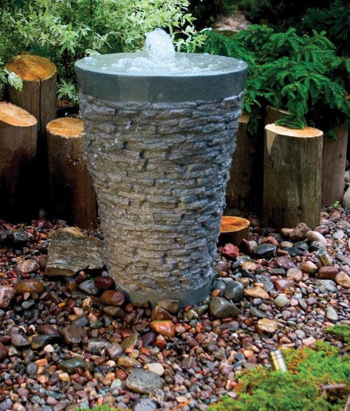 This pebble urn creates a welcome bird bath.