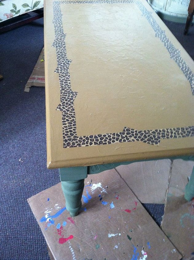 green DIY chalk paint on legs and apron