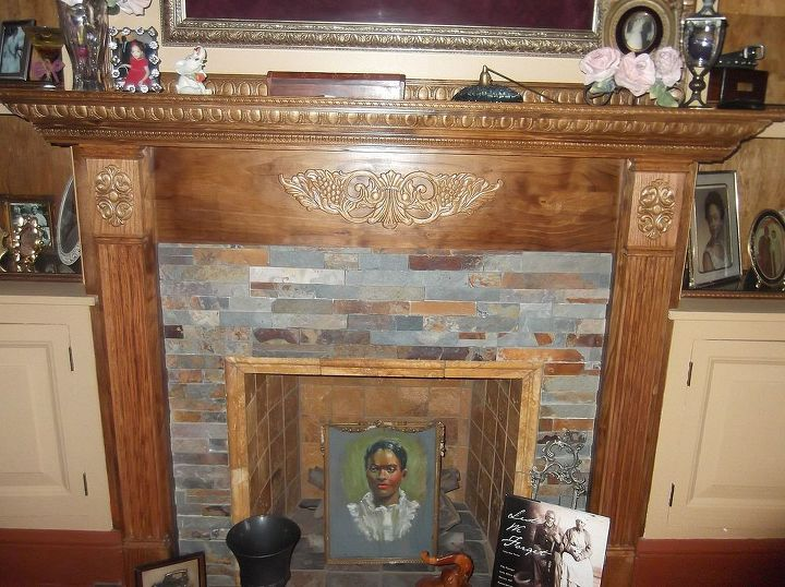 Added the slate tile and the mantel