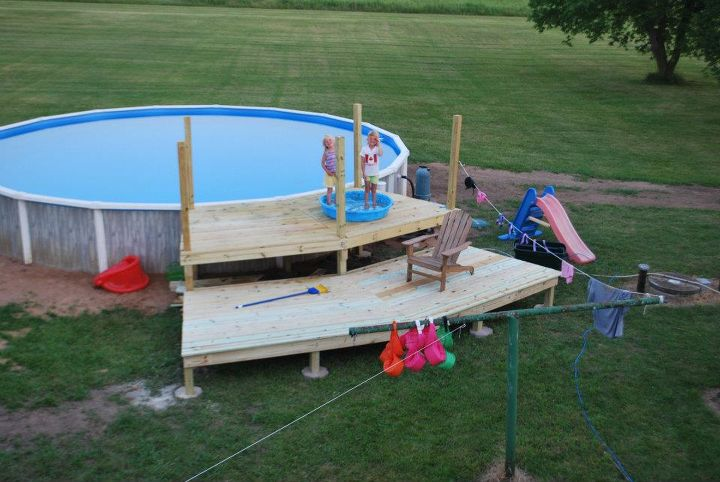 our pool deck project, decks, pool designs, end of day two lower deck complete Next will be steps railings and gate