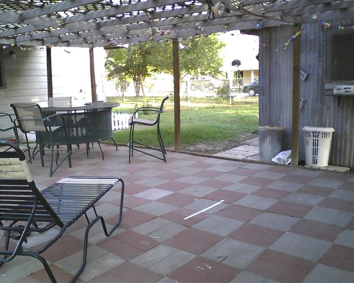 our back patio, outdoor living, patio, Our back patio