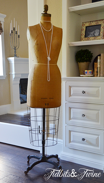"""My vintage dress form.  We jokingly refer to her as """"Stephanie"""""""