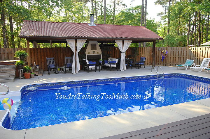 my outdoor cabana and retreat all built on a real life budget i share how on my, decks, outdoor living, pool designs