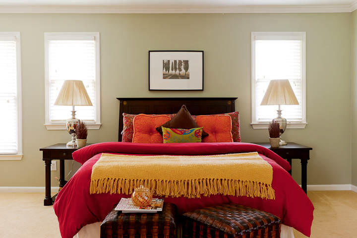 A master bedroom After being neutralized - warm and inviting.