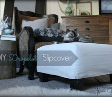 diy dropcloth slipcover, painted furniture, reupholster