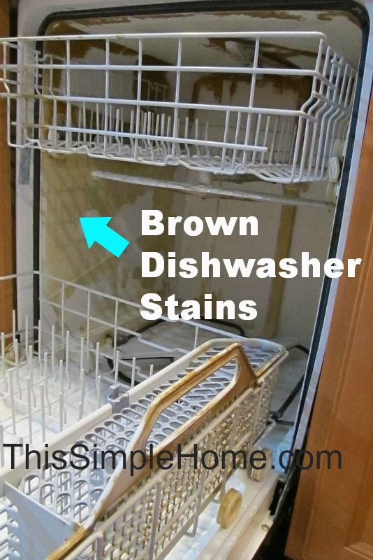 clean brown dishwasher stains, appliances, cleaning tips, plumbing