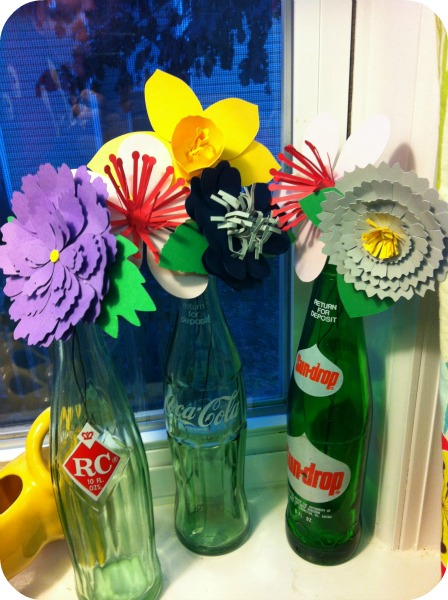 paper flowers in vintage soda bottles, crafts, repurposing upcycling, Made with my Silhouette Cameo