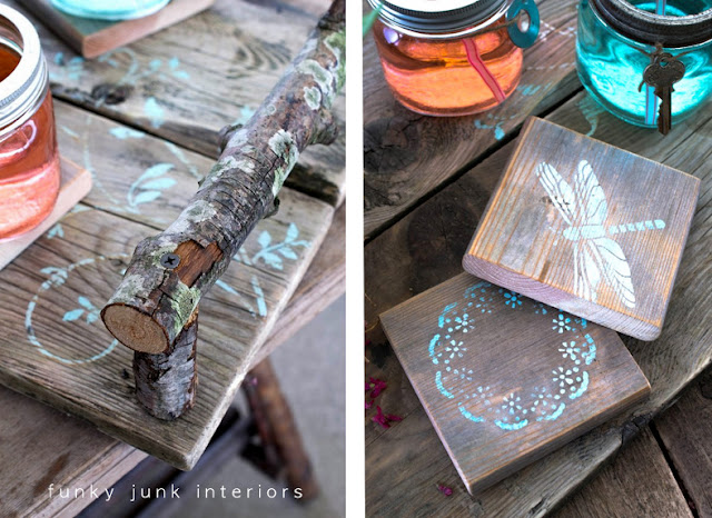 Scrap wood pieces became coasters, with added stencils to pretty them up. There's even a teal leafy stencil on one corner of the tray.  Full tutorial is at: http://www.funkyjunkinteriors.net/2012/04/rustic-and-pretty-with-little-help-f