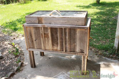 diy cowboy cooler, diy, how to, patio, porches, woodworking projects, Rustic Cowboy Cooler made from furring strips and reclaimed fencing