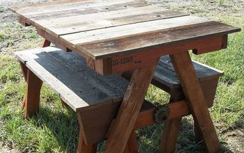 Child's pallet and recycled cedar fencing picnic table