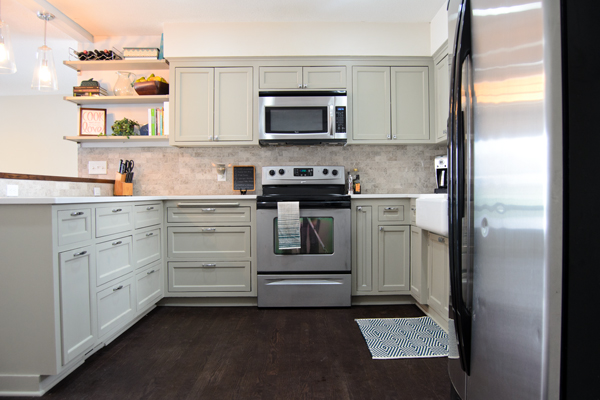 Remodeled Kitchen Using Original Cabinets With DIY Custom Doors ...