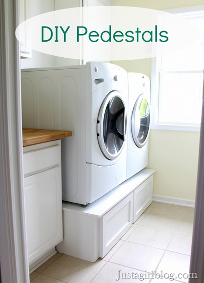 DIY laundry room pedestals for $100 http://justagirlblog.com/diy-pedestals/