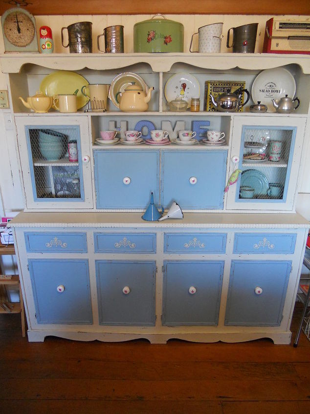 a tired old brown veneer hutch dresser to shabby chic delightful, painted furniture, shabby chic