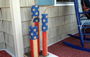 Homemade Firecracker Burlap Porch Decorations